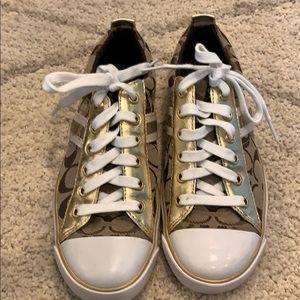 Coach gold tennis shoes